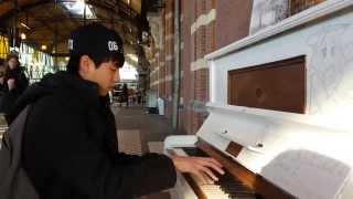 Yiruma's River flows in you & Pachelbel's Canon in D public piano cover @ station Nijmegen (NL)