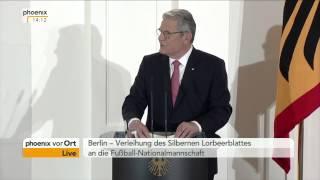 Rede von Joachim Gauck an die Fußball-Nationalmannschaft am 10.11.2014