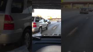 Uber & Lyft Driver accident smashes and crashes on concrete on the highway 90 In Downtown Chicago