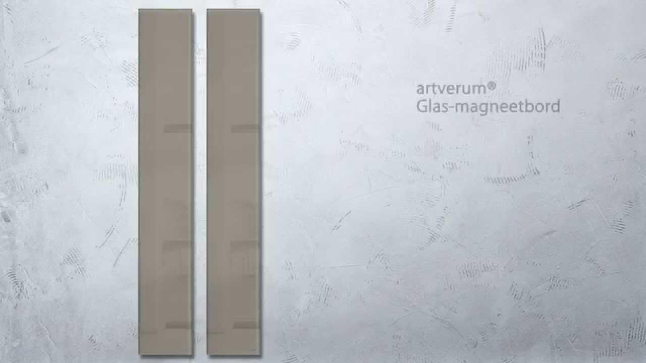 Glas magneetbord artverum® 12 x 78 cm taupe   gl108   youtube