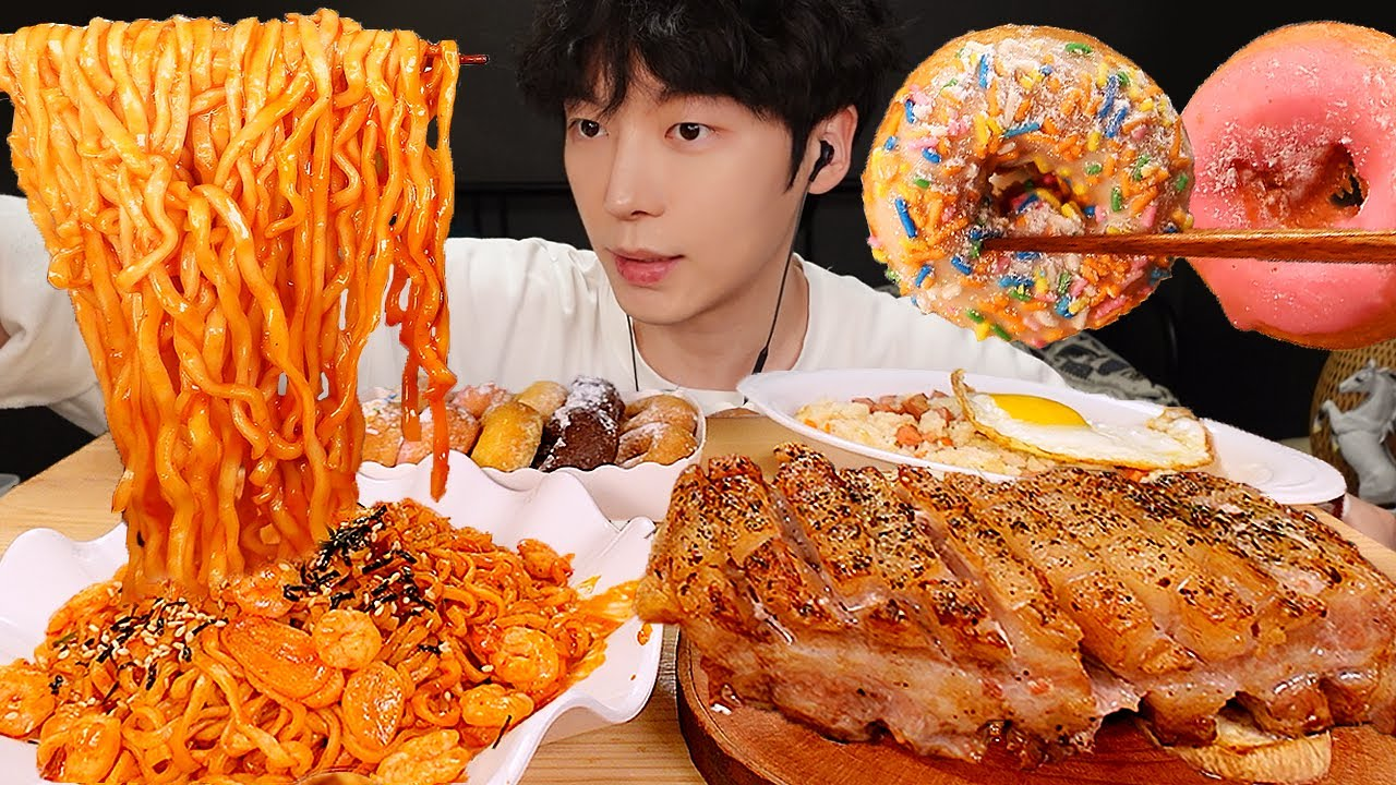 ASMR MUKBANG | 직접 만든 불닭볶음면 & 대왕 통 삼겹살 & 스팸 볶음밥 & 디저트 먹방 & 레시피 FIRE NOODLES EATING
