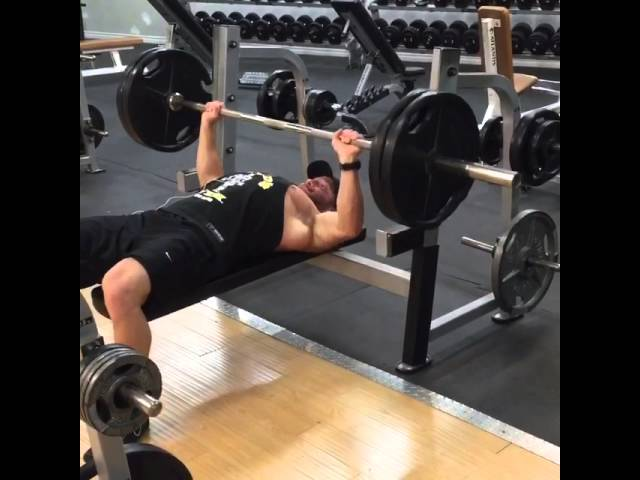 225 lbs bench press with slow tempo.