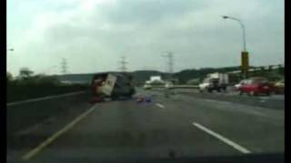 crazy accident on highway caught on tape