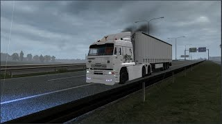 Please Subscribe For More Videos   Details & Download From http://www.modhub.us/euro-truck-simulator-2-mods/kamaz-6460-turbo-diesel-v8-1-37-1-38/    Changelog v28.07.20 Added engines from 360 hp to 500 hp, 10 and 5-speed gearboxes, Added a salon with a steering wheel on the right side, Removable rear bumper  Changelog v14.07.20 More animations added, now there is a working gear knob, Three gas pedals, brake and clutch workers, Differential lock button, high and low beam switch The GPS screen has been moved so that the animation buttons are not obstructed, Added vinyls on the sides and hood stickers  Changelog v28.06.20 The left mirror is fixed, cables are replaced by suitable ones the steering wheel is fixed (now from the outside you will see how the driver will turn it) Cabin physics fixed  Changelog v27.01.20 Changed the camera from the cab, Slightly changed engine sounds to more suitable Added to agency orders  Changes v04.09.19: in this update cables for trailers added Added three modes for wipers, raindrops didn't fall on the door glass; I fixed this error; now raindrops are dripping on the glass.  - Standalone - Dealer Volvo - 1 Cabin - Its interior - Advanced tuning - Mettalik paint support  - Its Sound   Credits Koral, Lexan, funyash.