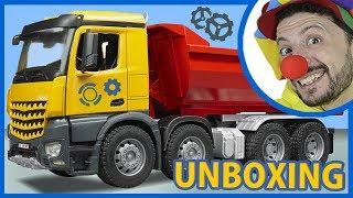 Funny Clown Bob unboxing Construction Vehicles Dump Truck for Kids