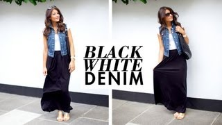 Black White and Denim Outfit of the Day Thumbnail