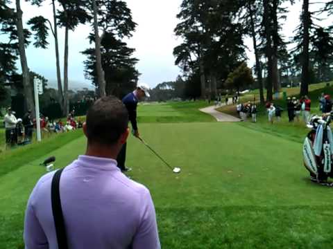Justin Rose and Sean Foley 6th Tee US Open practice