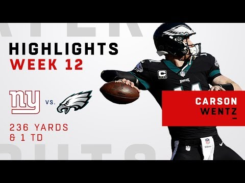 Carson Wentz Highlights vs. Giants