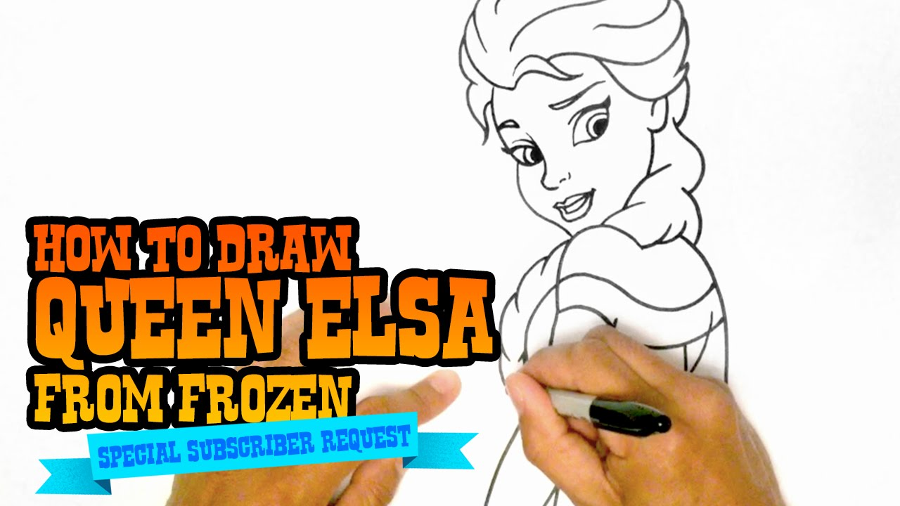 how to draw queen elsa from frozen step by step video youtube