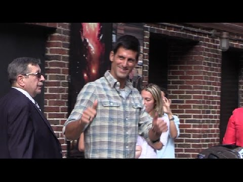 Novak Djokovic outside  Letterman Show