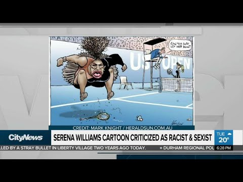 Cartoon of Serena Williams labeled as racist and sexist