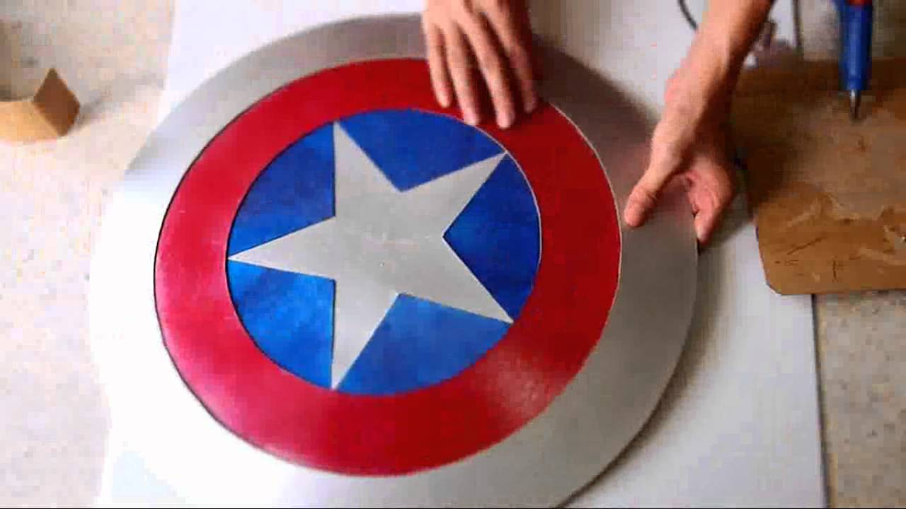 photograph regarding Captain America Shield Printable named #44: Captain Americas Protect Do it yourself 2/2 - Sizzling Glue + Cardboard (PDF template) How In direction of Dali Do it yourself