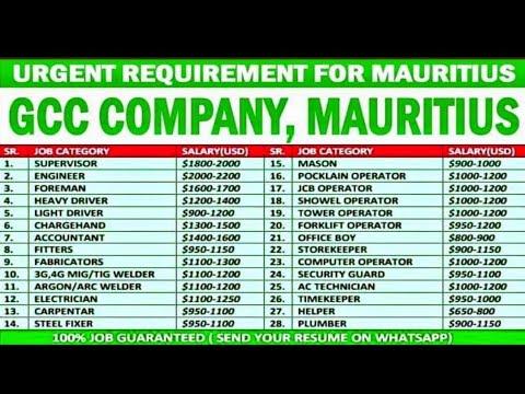 Jobs In Mauritius 2021 ¦¦ Highest Salary Upto 2200 US $ Dollar ¦¦ CV Selection ¦¦ Gulf Job Solution