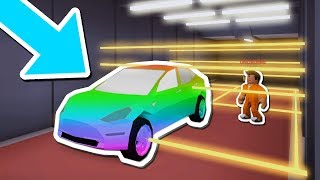 USING A CAR TO BLOCK LASERS IN THE BANK!! (Roblox Jailbreak MythBusters)