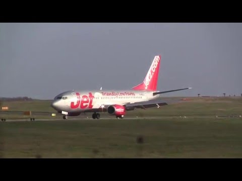 Storm Henry Crosswind Take-off & Landings at Leeds Bradford Airport, UK - 2nd February, 2016