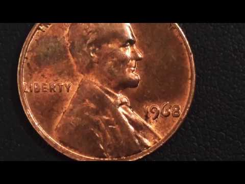 1968 ERROR USA COIN Lincoln Penny ONE CENT 1 1968CHEQUEA Tu 1968Qepik