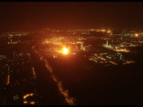 Aerial Shots of chemical plant in east China city