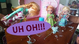 Elsa And Anna Toddlers have SILLY STRING fight and get in TROUBLE
