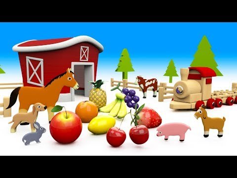 Learn Fruits Names for Children with Wooden ToyTrain Farm Animals 3D Kids Learning Educational Video
