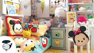 DIY Tsum Tsum Dollhouse! Miniature Room with Working Lights!