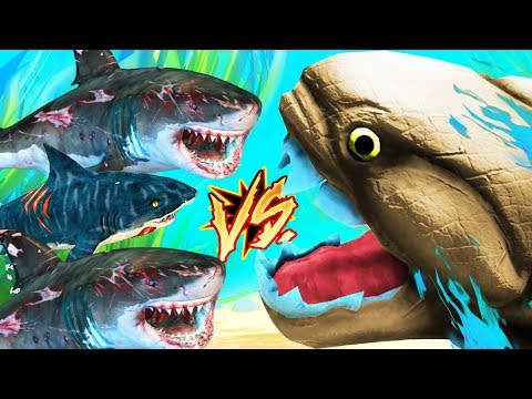 MIS TIBURONES VS EL PEZ GIGANTE DE PIEDRA | FEED AND GROW FISH