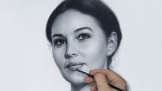 Portrait drawing Monica Bellucci by dry brush