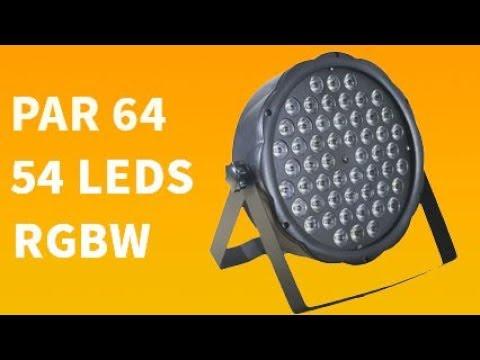 Canhão Flat Par LED 54 LEDS RGBW 3 Watt Slim Dmx Digital Djs Festas Iluminação Strobo Flash