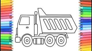 How To Draw A Dump Truck for Kids 💙💜💖 Dump Truck Drawing and Coloring Pages for Kids