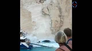 ΖΑΚΥΝΘΟΣ 2018 ΚΑΤΟΛΙΣΘΗΣΗ ΣΤΟ ΝΑΥΑΓΙΟ ΖΑΚΙNTHOS BEACH SHIPWRECK MOUNTAIN COLAPSES Navagio beach