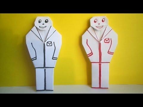 Ролик оригами человечек,  оригами человек из бумаги // paper people origami