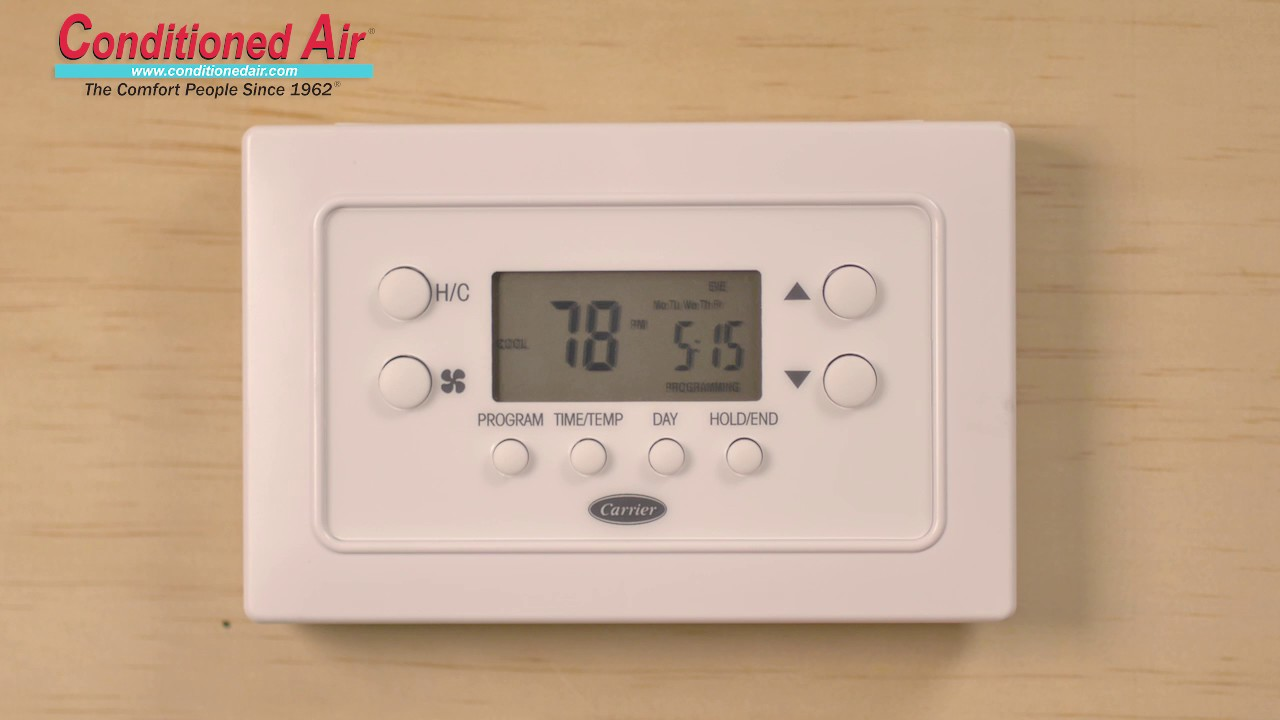 how to program carrier thermostat conditioned air youtube rh youtube com Carrier Thermostat Troubleshooting Carrier Thermostat Troubleshooting