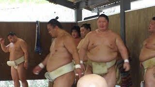 中国人力士の蒼国来とモンゴル人力士の逸ノ城と日本の豊山がぶつかり稽...