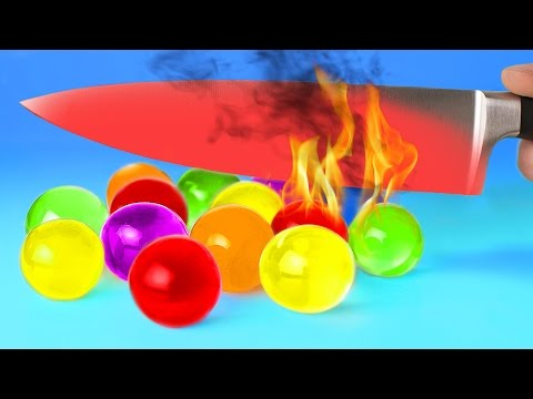 Thumbnail: EXPERIMENT Glowing 1000 degree KNIFE VS 15 OBJECTS! Orbeez Crayons Sour Candy and Toys! SATISFYING