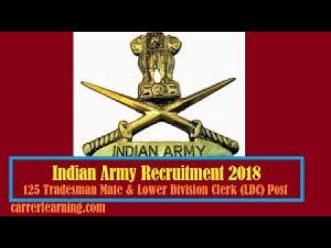 Indian Army Recruitment 2018 - 125 Posts of Tradesman Mate, LDC