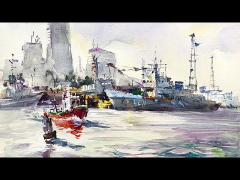 Healing Watercolor Art  |  Landscape of Yokohama Port |  Shibasaki