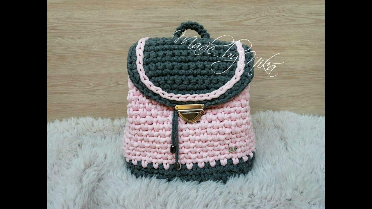 схема вязания рюкзака из трикотажной пряжи