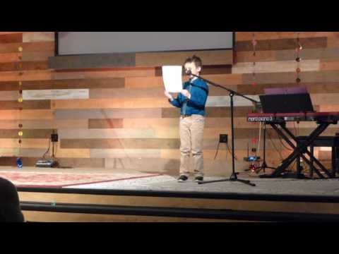 Egan doing comedy at Sterling Classical School talent show 2017_0302