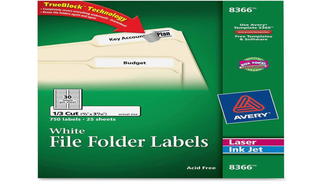 Avery File Folder Labels for Laser and Inkjet Printers 0.6 x 3.43 ...