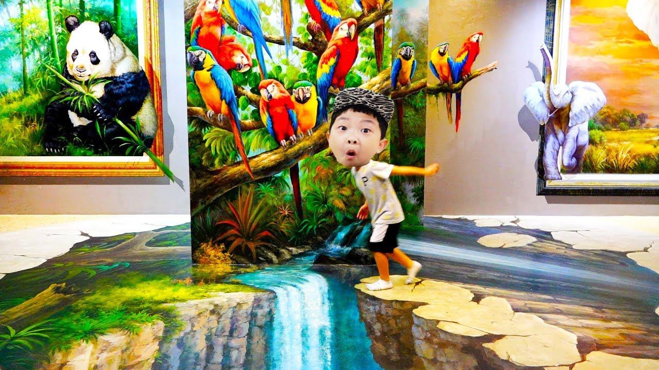 트릭아이 박물관 예준이의 어린이 트릭아트 동물원 키즈 체험전 상어 호랑이 사자 태국 치앙마이 살아보기 Funny Baby Trick Eye Museum Kids Playground