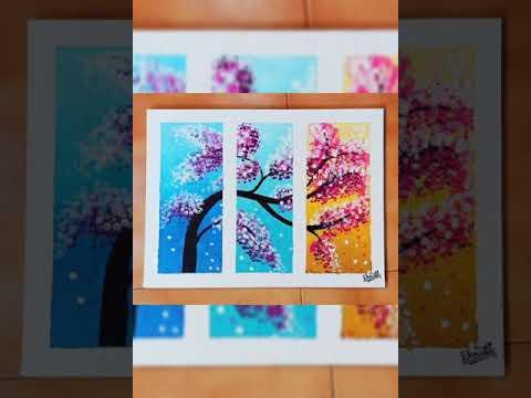 Creative flower blossom tree| canvas painting| unique technique| step by step| wall decoratives