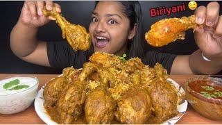CHICKEN TIKKA BIRIYANI WITH SPICY CHICKEN CURRY  BIG BITES  INDIAN MUKBANG  FOOD EATING VIDEOS