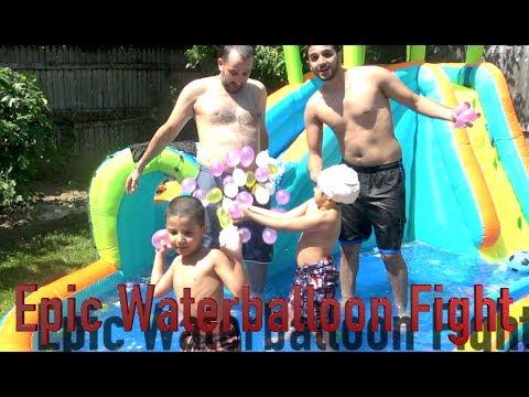 Making Cool Waterslide Pool in backyard + Water-Balloon fight! | Yousif Saleh