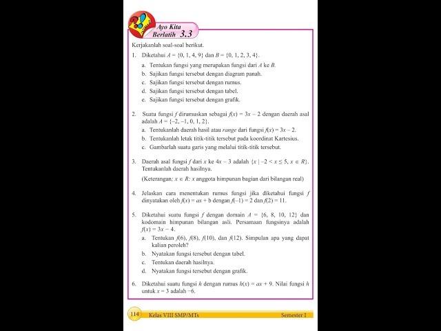 Kelas 8 - Relasi dan Fungsi - Ayo Kita Berlatih 3.3
