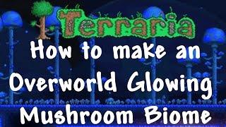 How to make an Overworld Glowing Mushroom Biome - Terraria 1.3