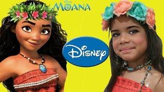 Disney Princess MOANA Costume and kids Makeup Pretend Play