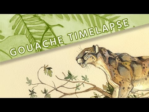Gouache Timelapse Painting I // Dinictis Paleoart // Mary Sanche
