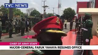 New Chief Of Army Staff, Major General Faruk Yahaya Resumes Office