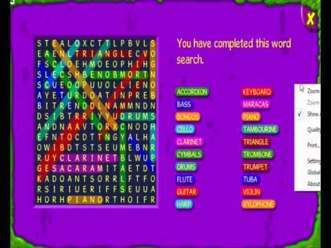 Bin Weevils Musical Instruments Wordsearch Answers
