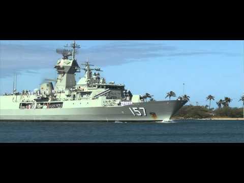 Anzac Class Australian Navy Frigate HMAS Perth Crosses Pearl Harbor - RIMPAC 2012
