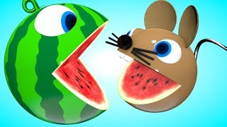 Pacman watermelon meets a mouse-PACMAN travel roll around on farm found surprise toys